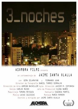 3 noches corto cartel poster